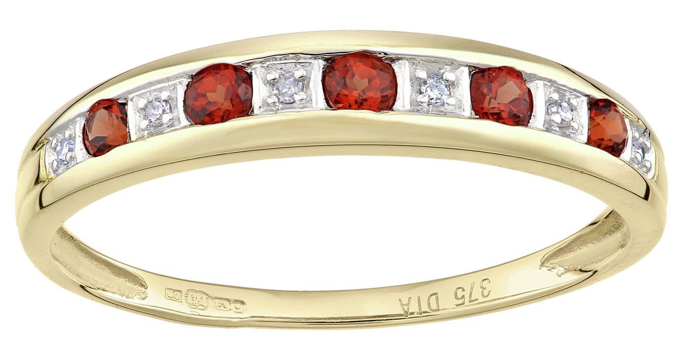 Revere 9ct Yellow Gold Garnet and Diamond Eternity Ring