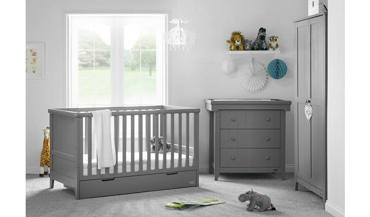 Obaby Belton Chest//Cot Top Changer Taupe Grey