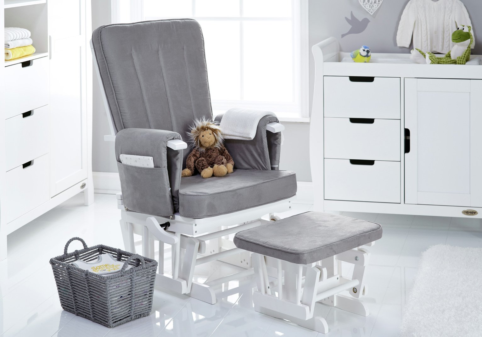 Obaby Deluxe Reclining Glider Chair and Stool - White & Grey