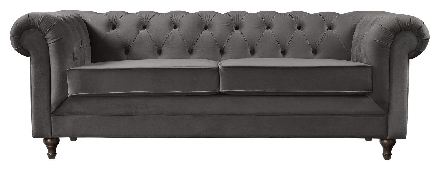 Habitat Chesterfield 3 Seater Velvet Sofa - Charcoal