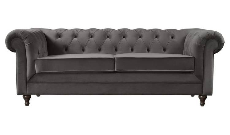 Argos Home Chesterfield 3 Seater Velvet Sofa - Charcoal