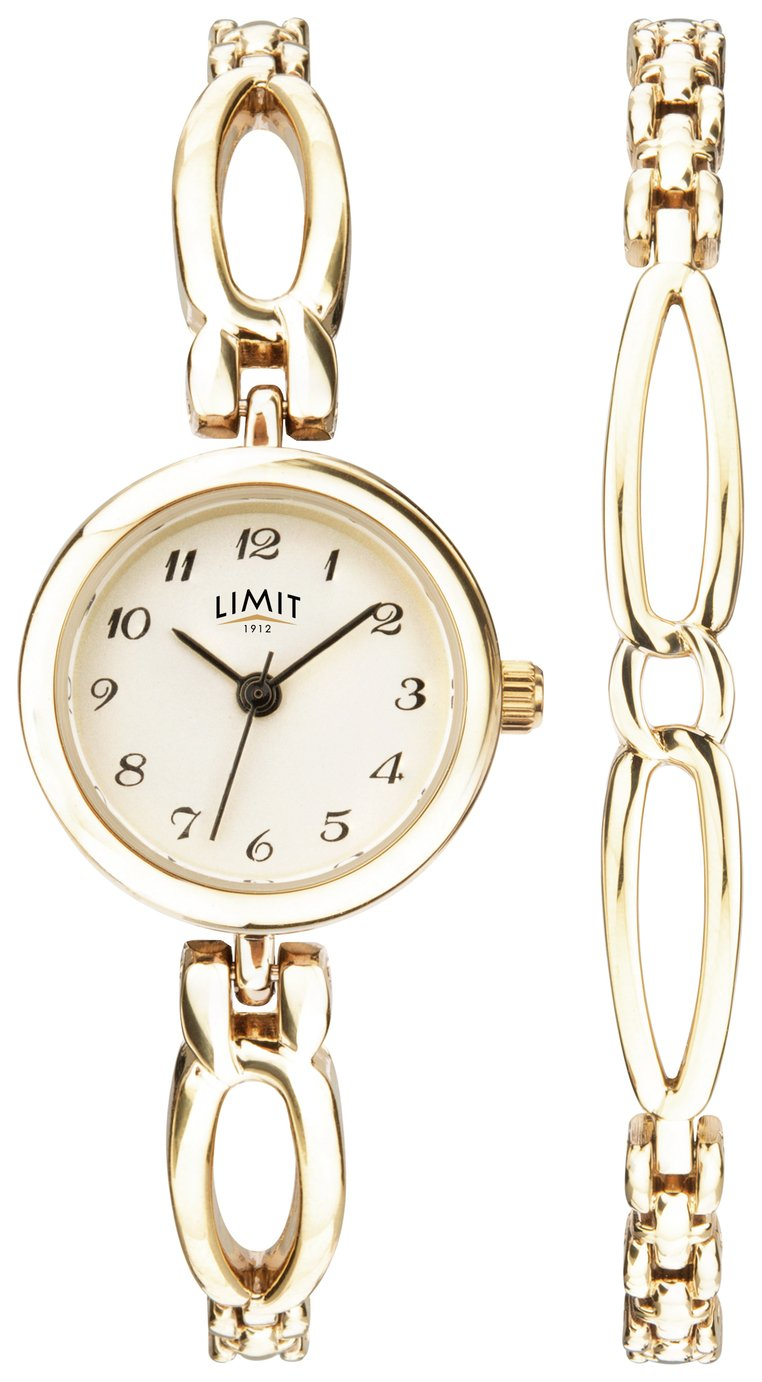 Limit Gold Plated Ladies Watch and Bracelet Set