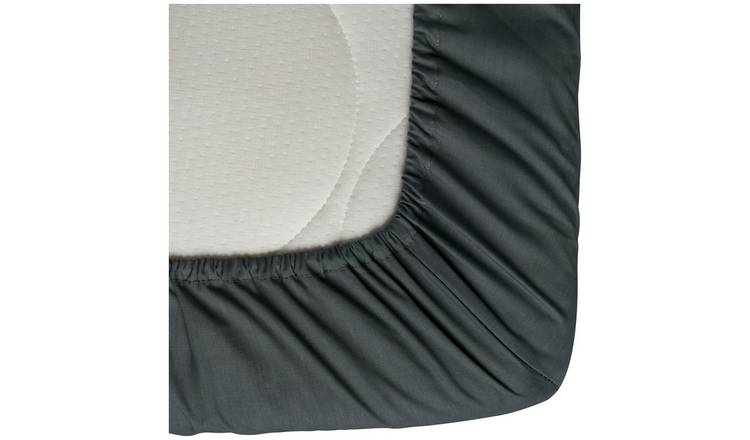 Black Argos Home Cotton Rich 28cm Kingsize Fitted Sheet