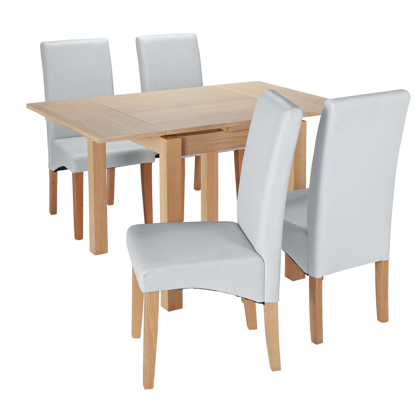 Argos Home Clifton Oak Extendable Table & 4 Chairs - Grey