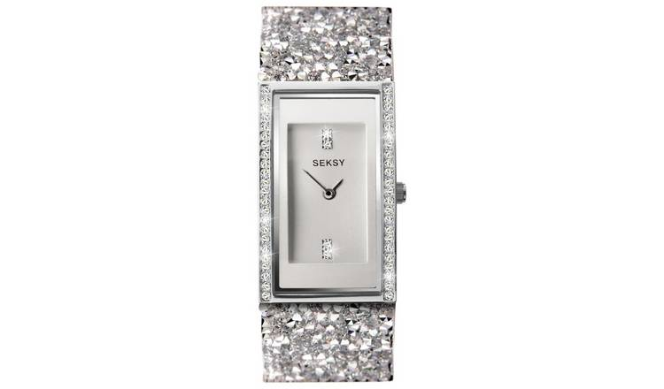 Seksy Rocks White Leather Stone Set Strap Watch
