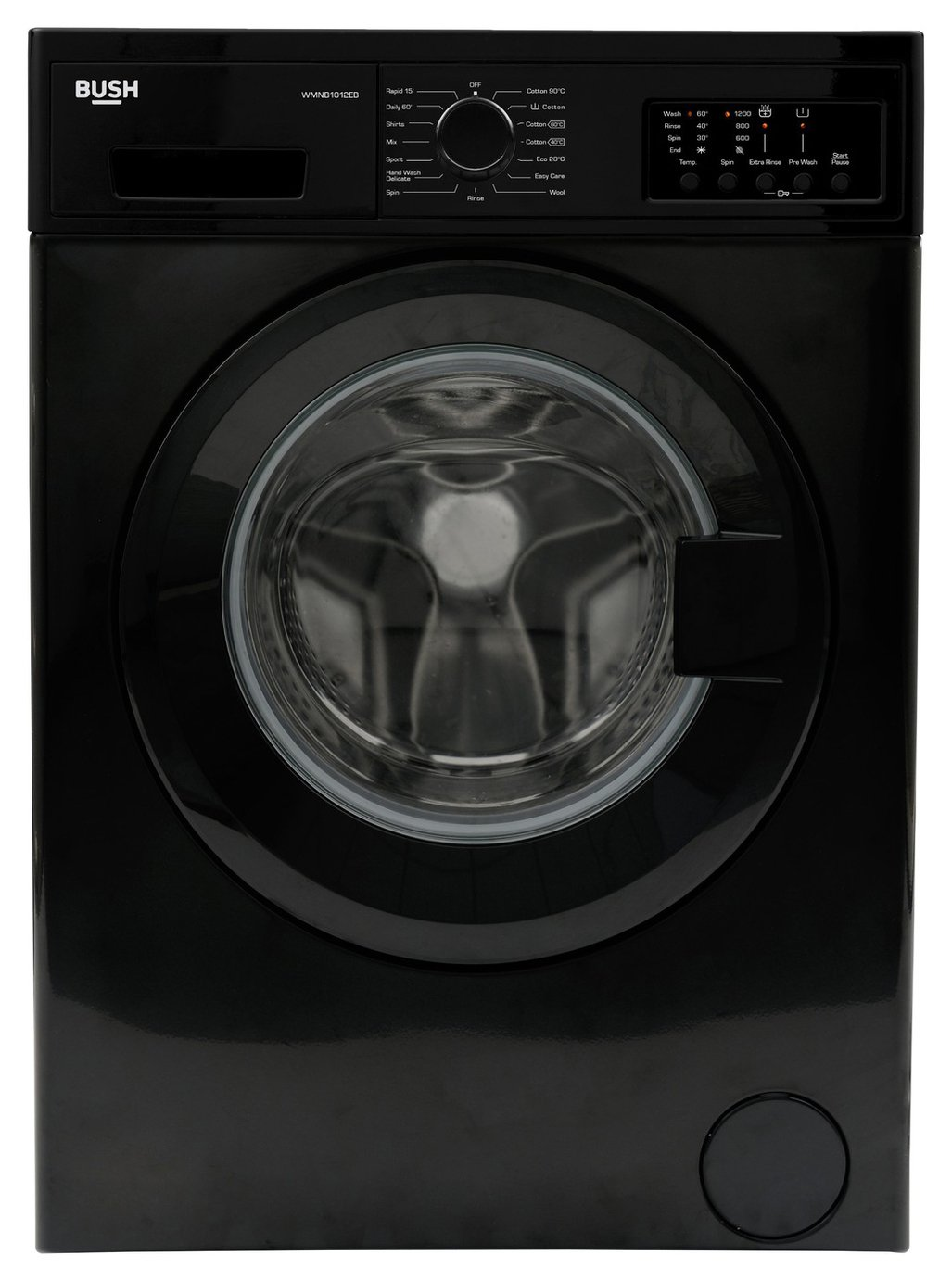 Bush WMNB1012EB 10KG 1200 Spin Washing Machine - Black Best Price, Cheapest Prices