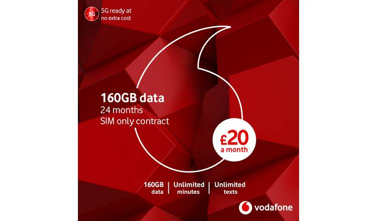 Vodafone 60GB data 12 Month 5G SIM Card