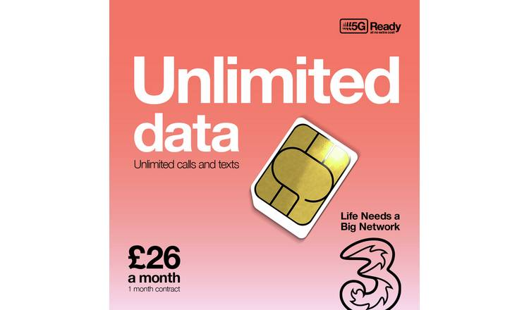Three Unlimited 1 Month Contract SIM Card