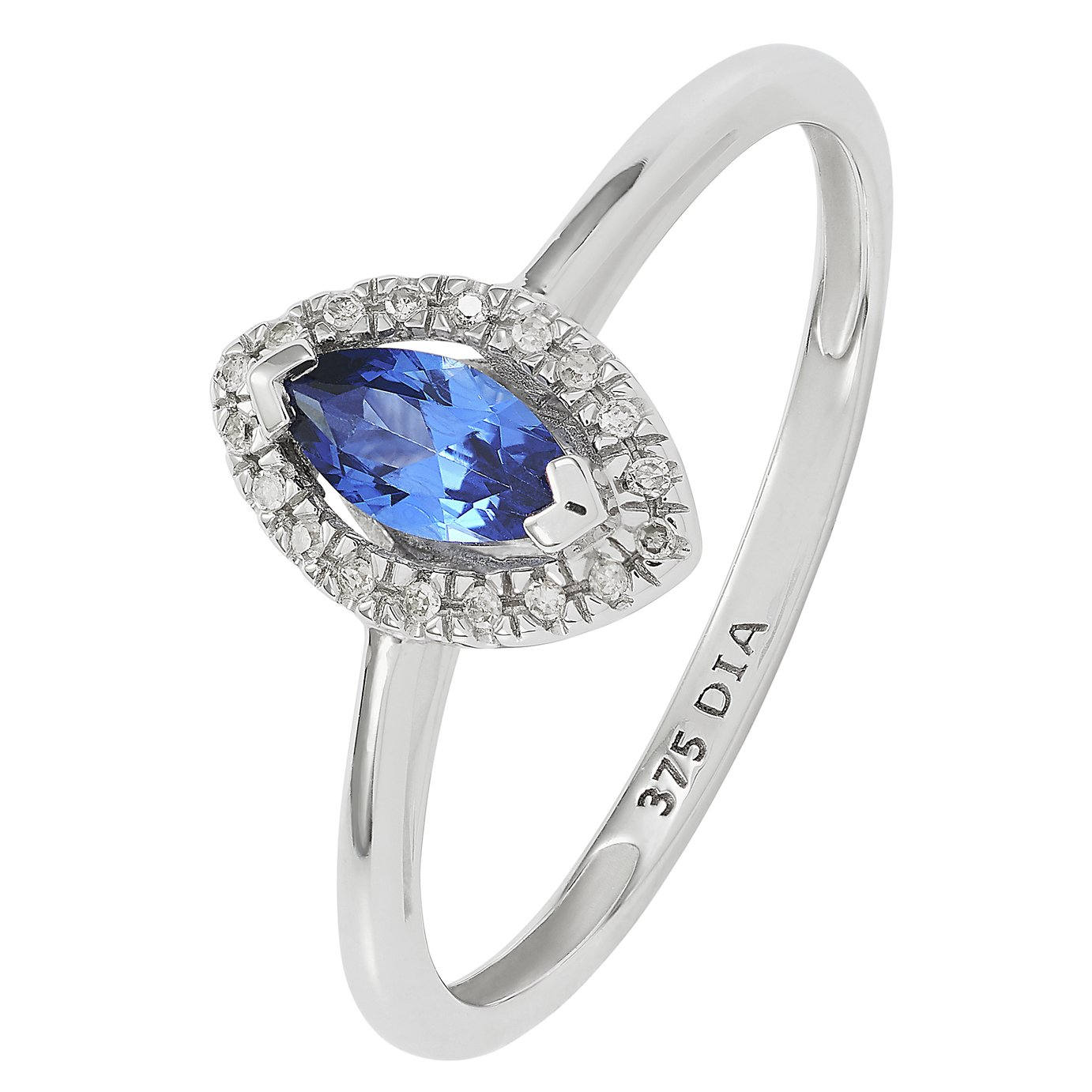 Revere 9ct White Gold Created Tanzanite and Diamond Ring