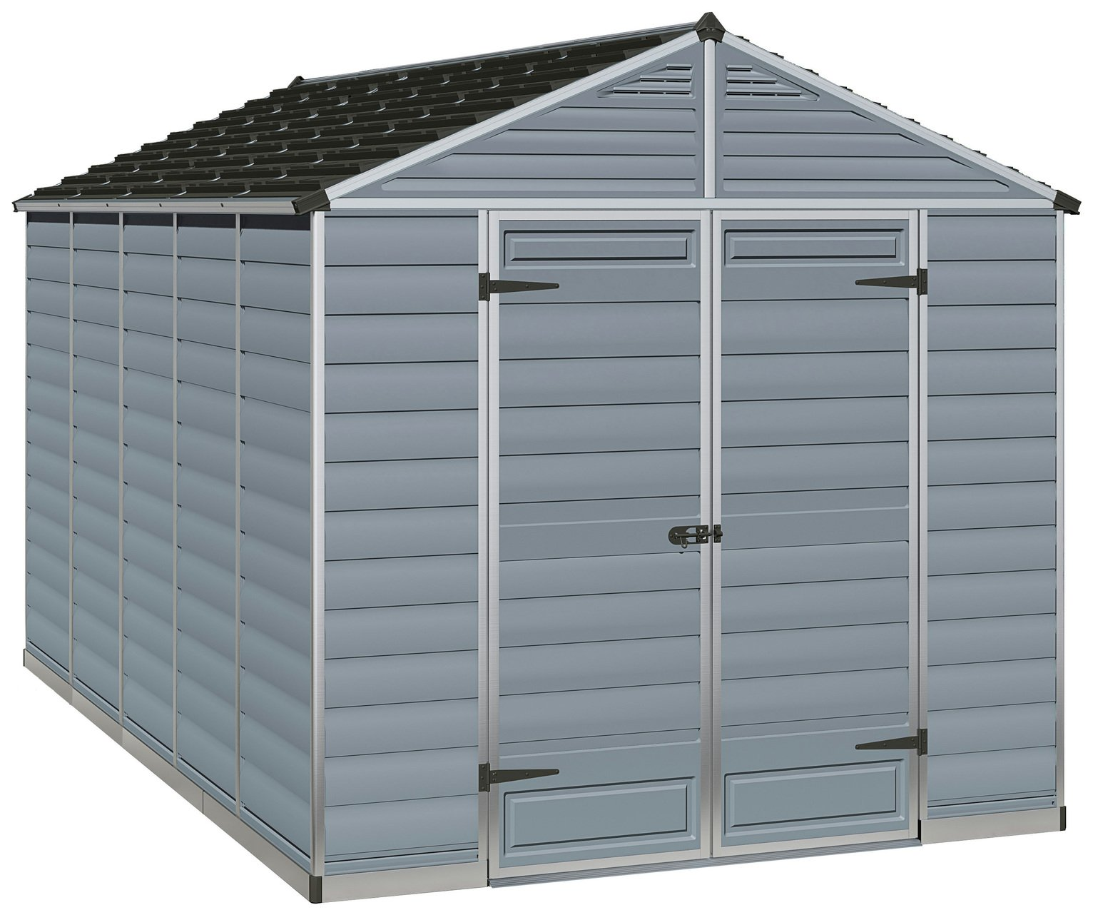 Palram Skylight Plastic 8 x 12ft Shed - Dark Grey Best Price, Cheapest Prices