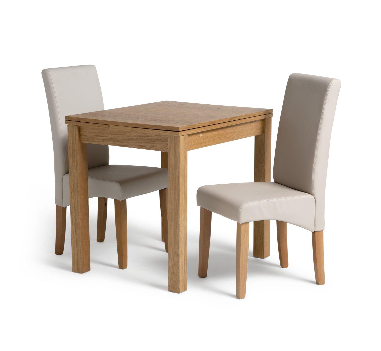 Habitat Clifton Oak Extending Table & 2 Cream Chairs