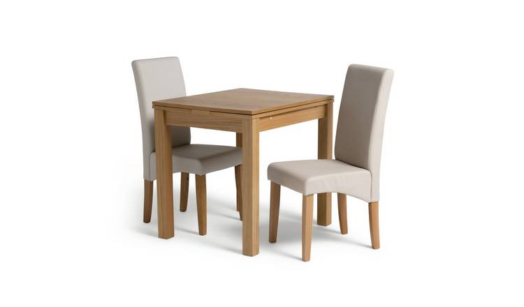 Habitat Clifton Oak Extending Table & 2 Cream Chairs