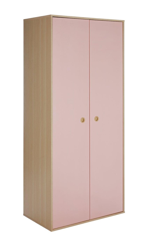 Argos Home Camden Pink & Acacia 2 Door Wardrobe