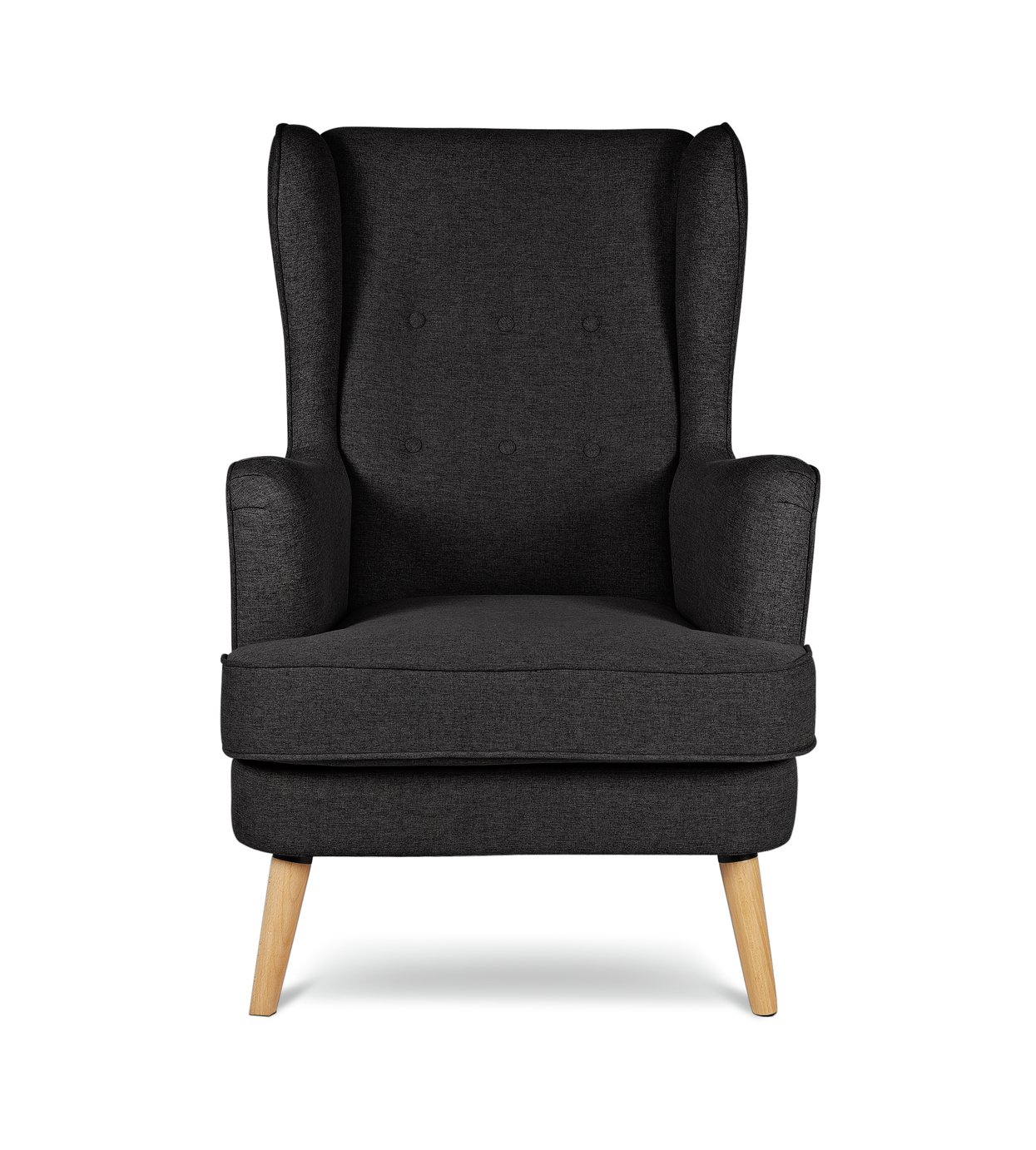 Argos Home Callie Fabric Wingback Chair - Charcoal