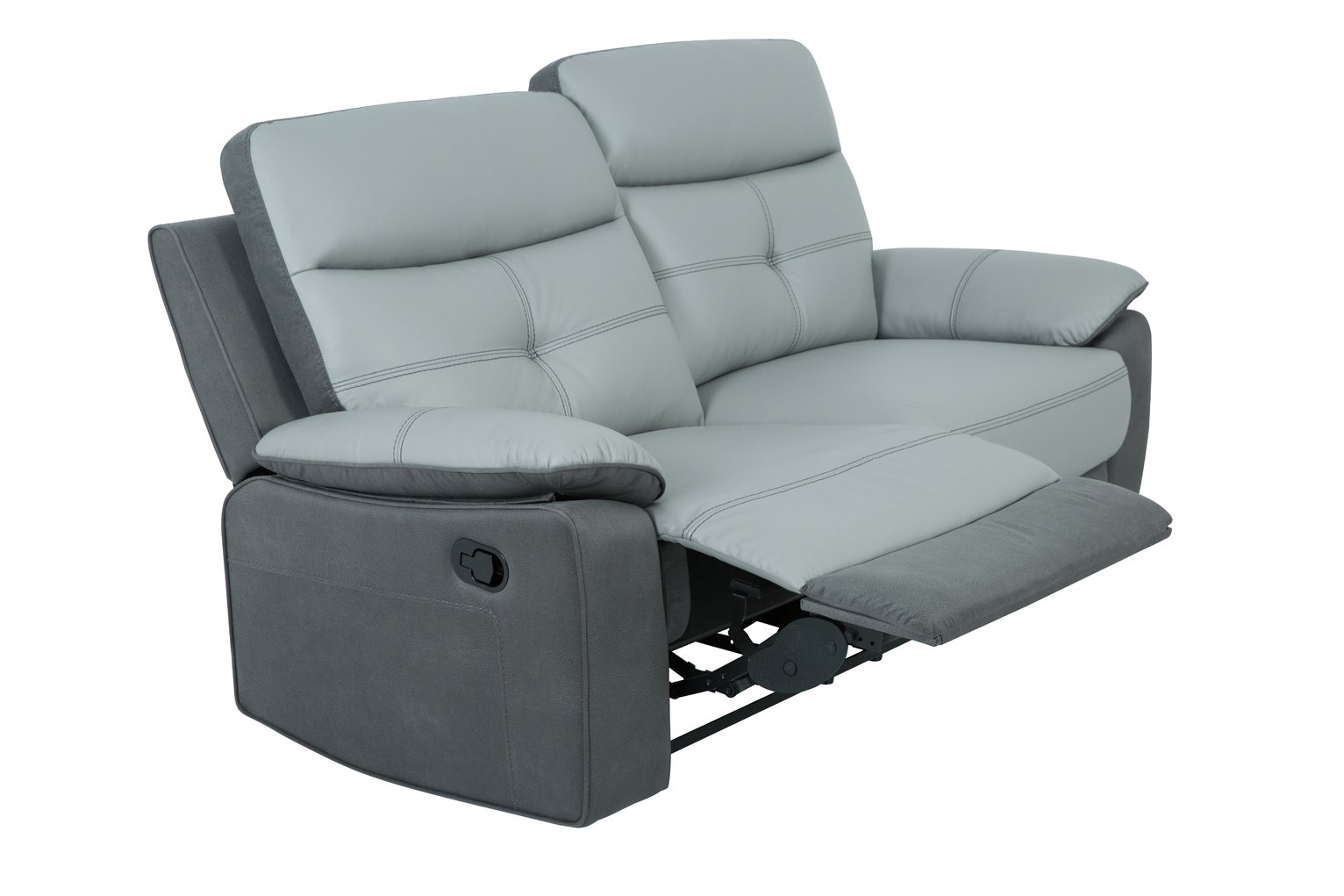 Argos Home Charles 3 Seater Leather Mix Recliner Sofa - Grey
