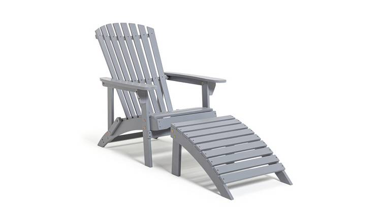 Habitat Seville Wooden Lounger - Grey