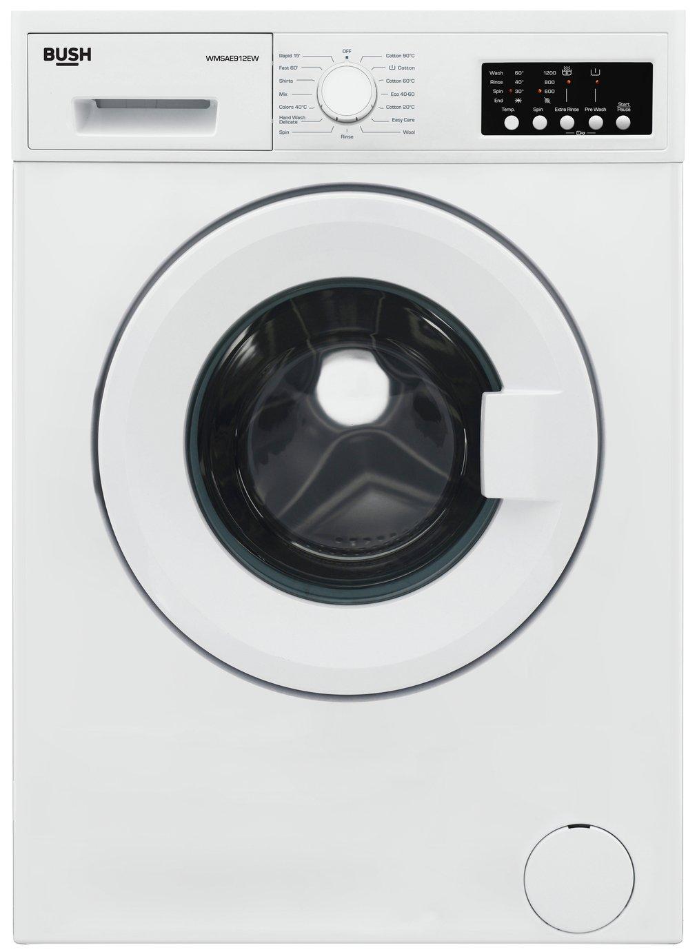Bush WMSAE912EW 9KG 1200 Spin Washing Machine