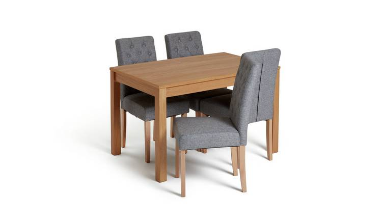 Habitat Clifton Oak Veneer Table & 4 Button Chairs - Grey