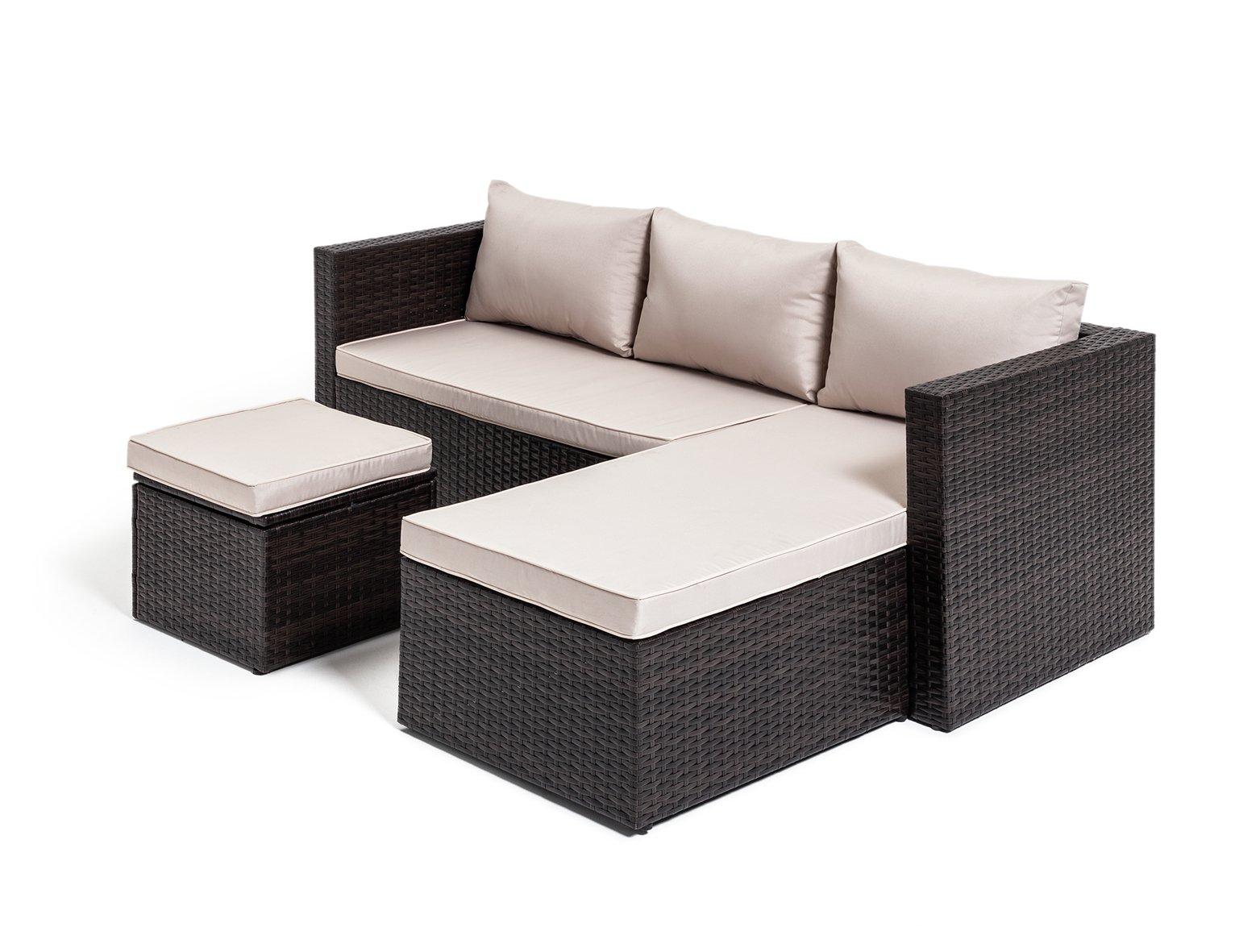 Habitat Mini Corner Sofa Set with Storage - Brown