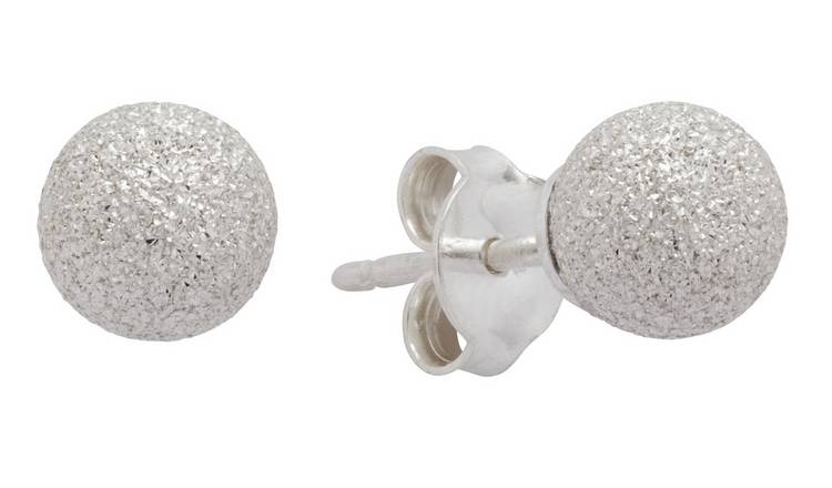 Revere Sterling Silver Diamond Cut Ball Stud Earrings
