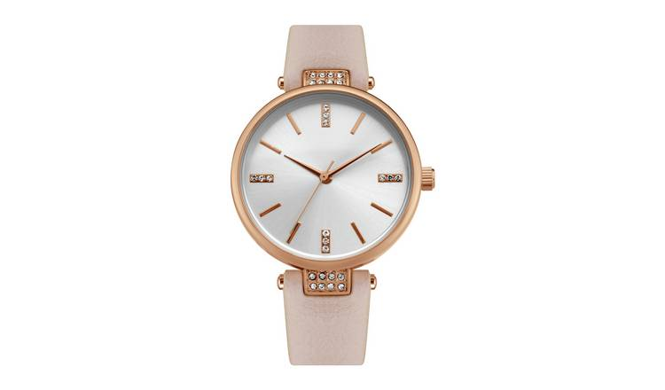 Identity Ladies Piink Leather Strap Watch