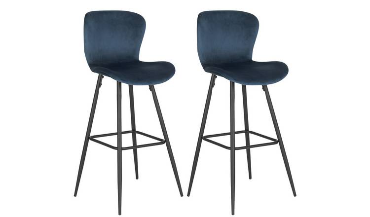 Habitat Etta Pair of Velvet Bar Stool - Blue