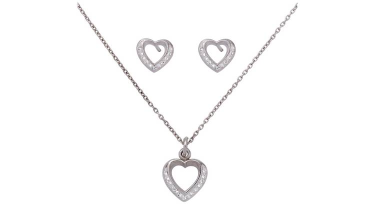 Revere Sterling Silver Open Heart Stud Earring & Pendant Set