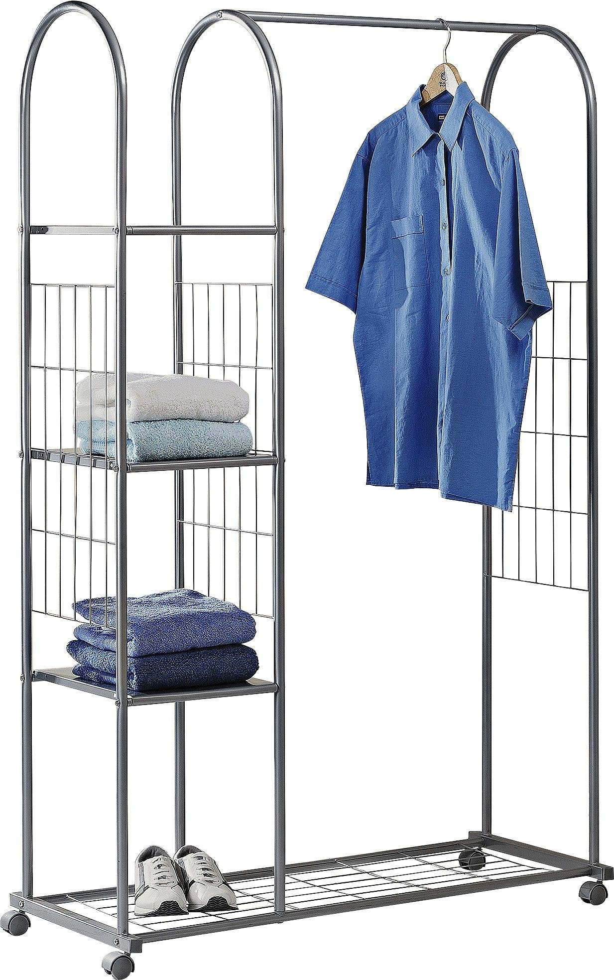 Image of HOME Clothes Rail with Shelves - Silver