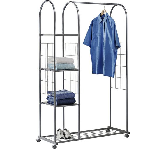 Buy home clothes rail with shelves silver hanging rails argos home clothes rail with shelves silver sisterspd