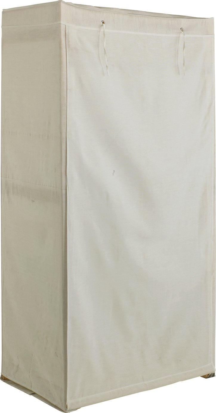 simple value polycotton and wood single wardrobe  cream