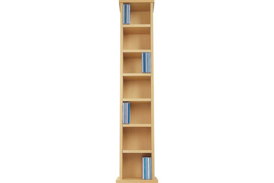 dvd rack wooden storage tower unit cd cabinet narrow beech