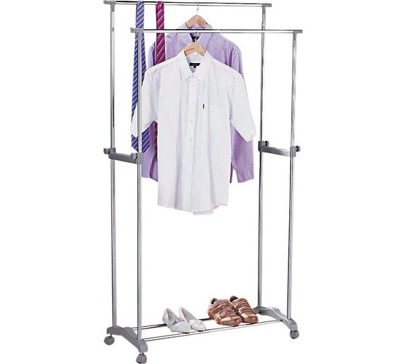 Home Double Adjule Clothes Rail Silver