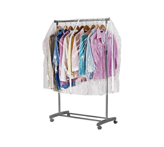 Buy home clothes rail cover clear at your - Bedroom furniture for hanging clothes ...