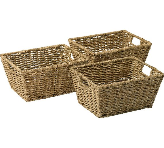 How To Weave A Mini Basket : Buy home set of seagrass storage baskets natural at