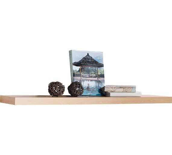 Buy home 120cm floating shelf beech effect at for Furniture 4 u ashington
