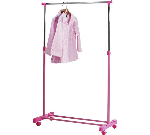 Home Adjule Chrome Plated Clothes Rail Pink