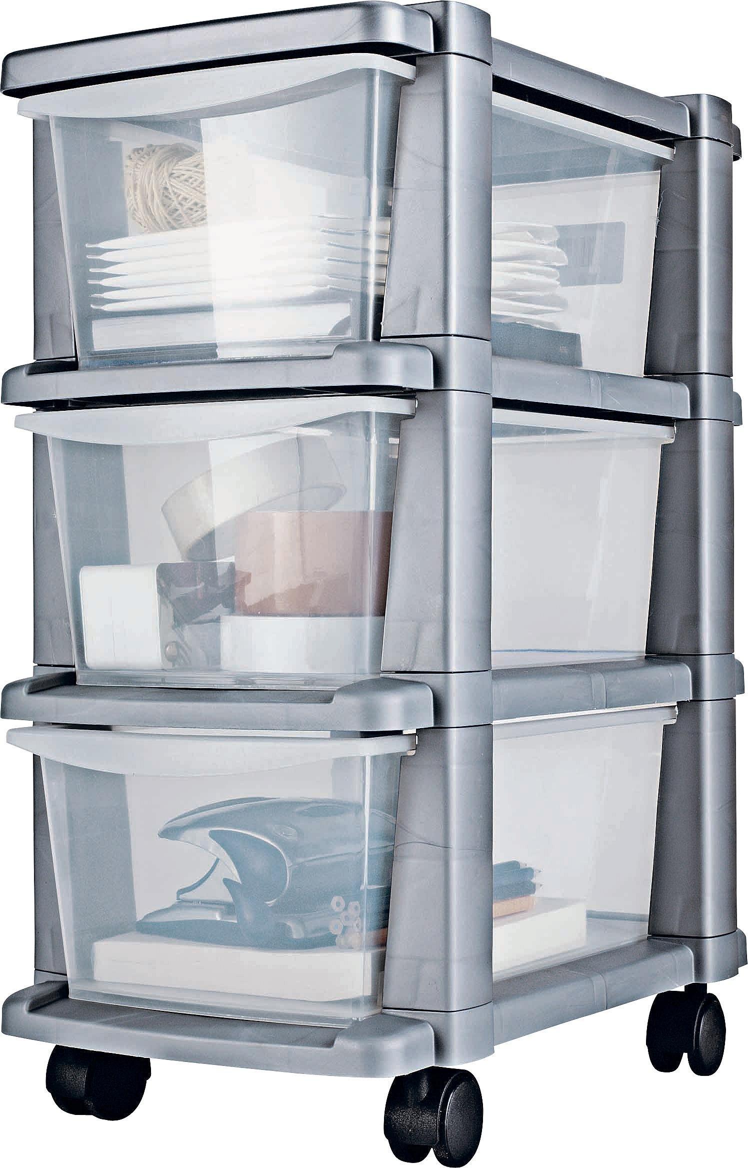 HOME Plastic 3 Drawer Silver Tower Storage Unit