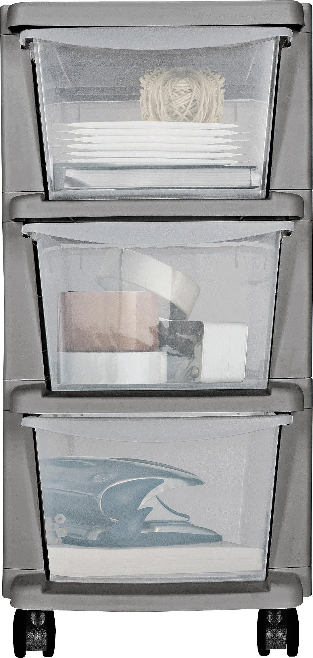 'Home Plastic 3 Drawer Silver Tower Storage Unit