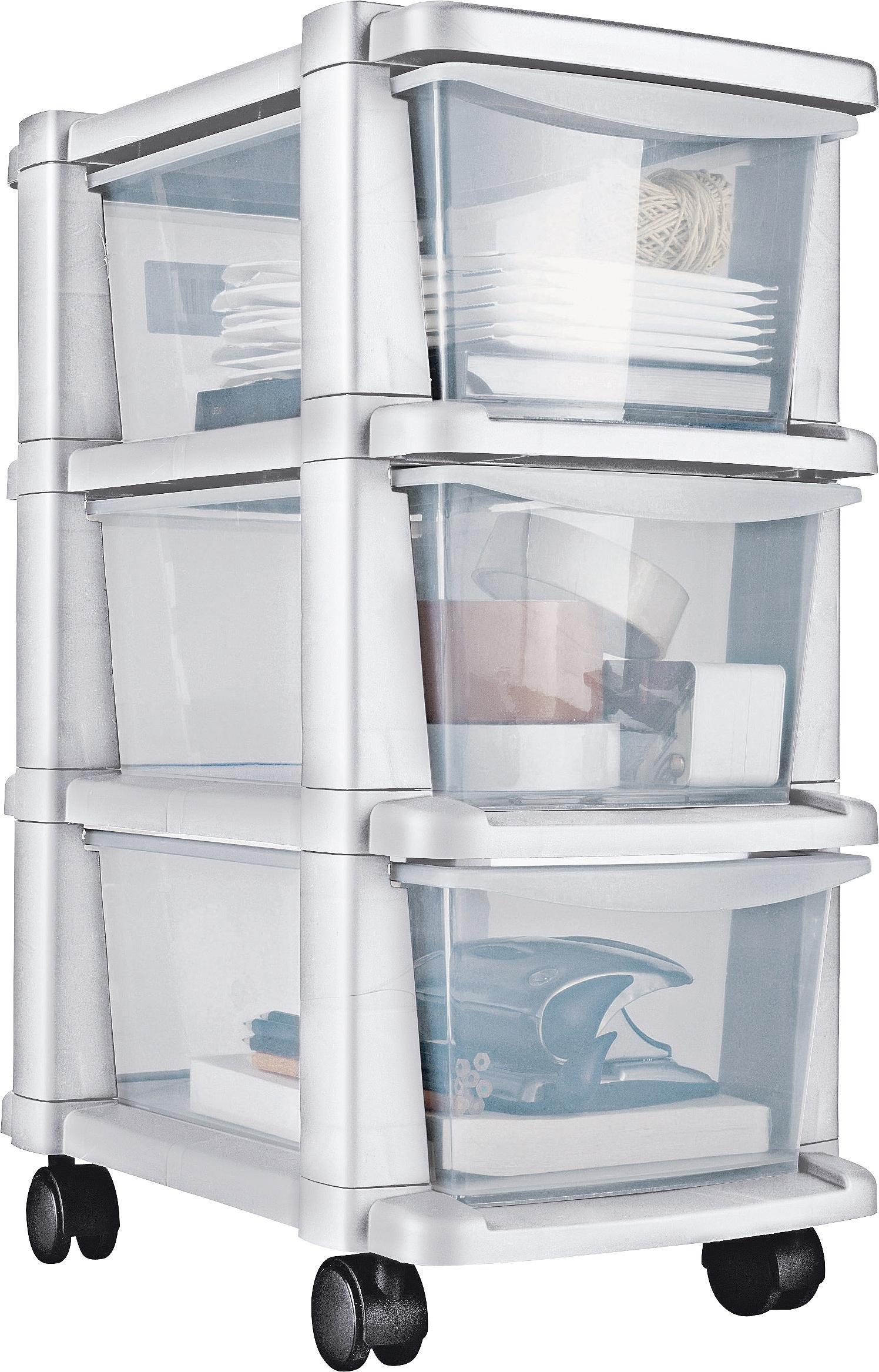 'Home 3 Drawer Slim White Tower Plastic Storage Unit