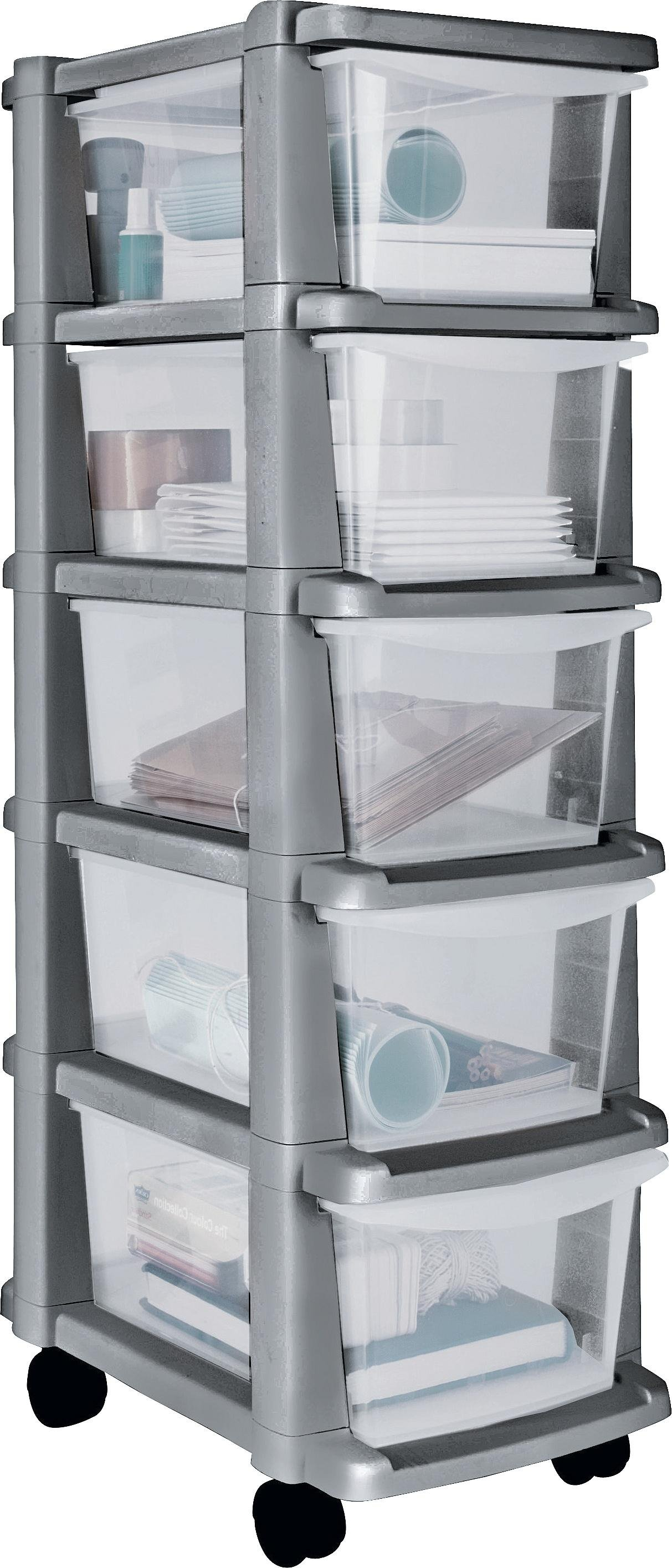 Image of HOME 5 Drawer Plastic Slim Tower Storage Unit - Silver