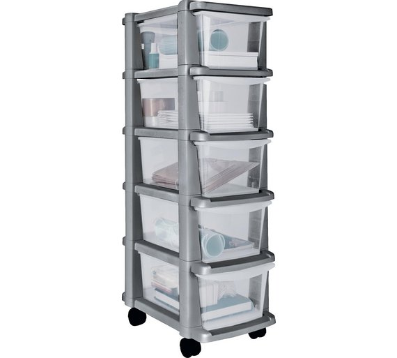 Buy home 5 drawer plastic slim tower storage unit silver for Narrow storage tower