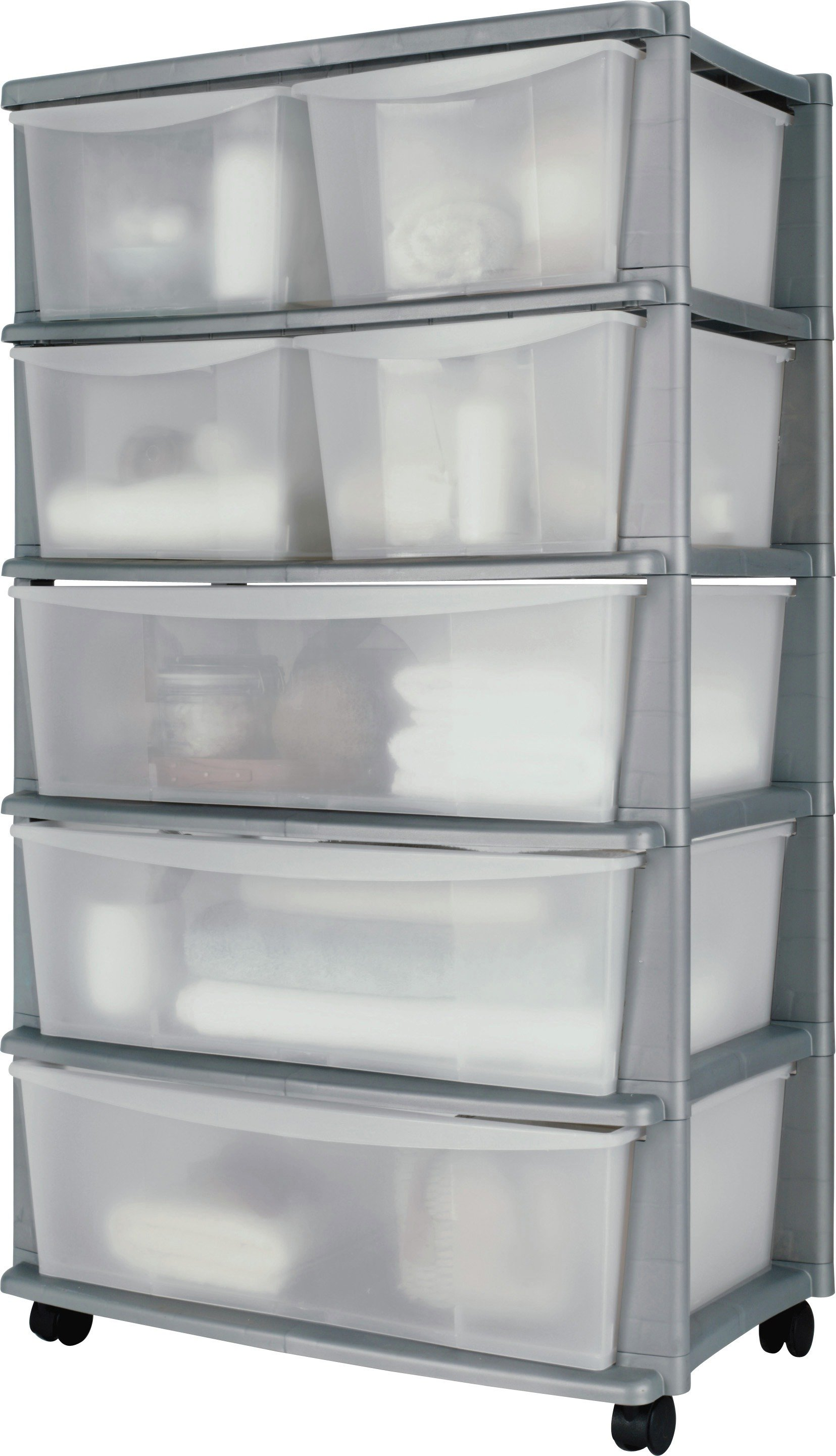 Sale On Home 7 Drawer Silver Plastic Wide Tower Storage