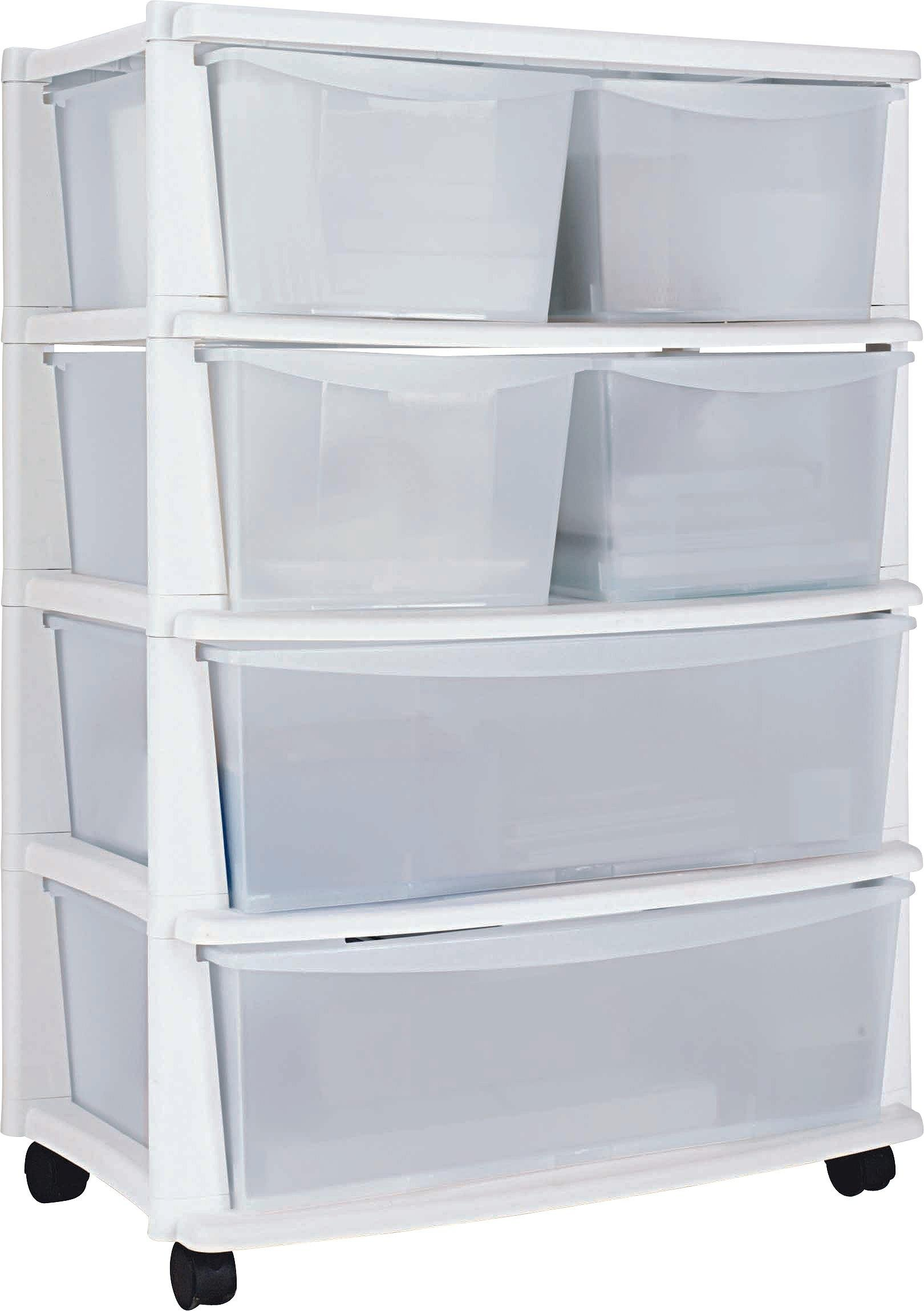 Home  Drawer Plastic Wide Tower Storage Unit White