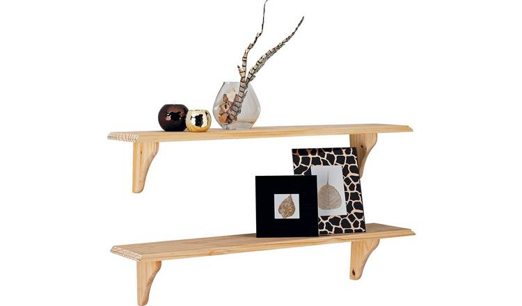 Fabulous Buy Argos Home 89Cm Set Of 2 Wooden Shelves Unfinished Pine Wall Mounted And Floating Shelves Argos Download Free Architecture Designs Osuribritishbridgeorg