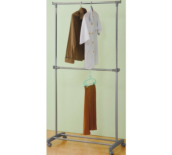 Buy home adjustable chrome plated 2 tier clothes rail grey home adjustable chrome plated 2 tier clothes rail grey sisterspd