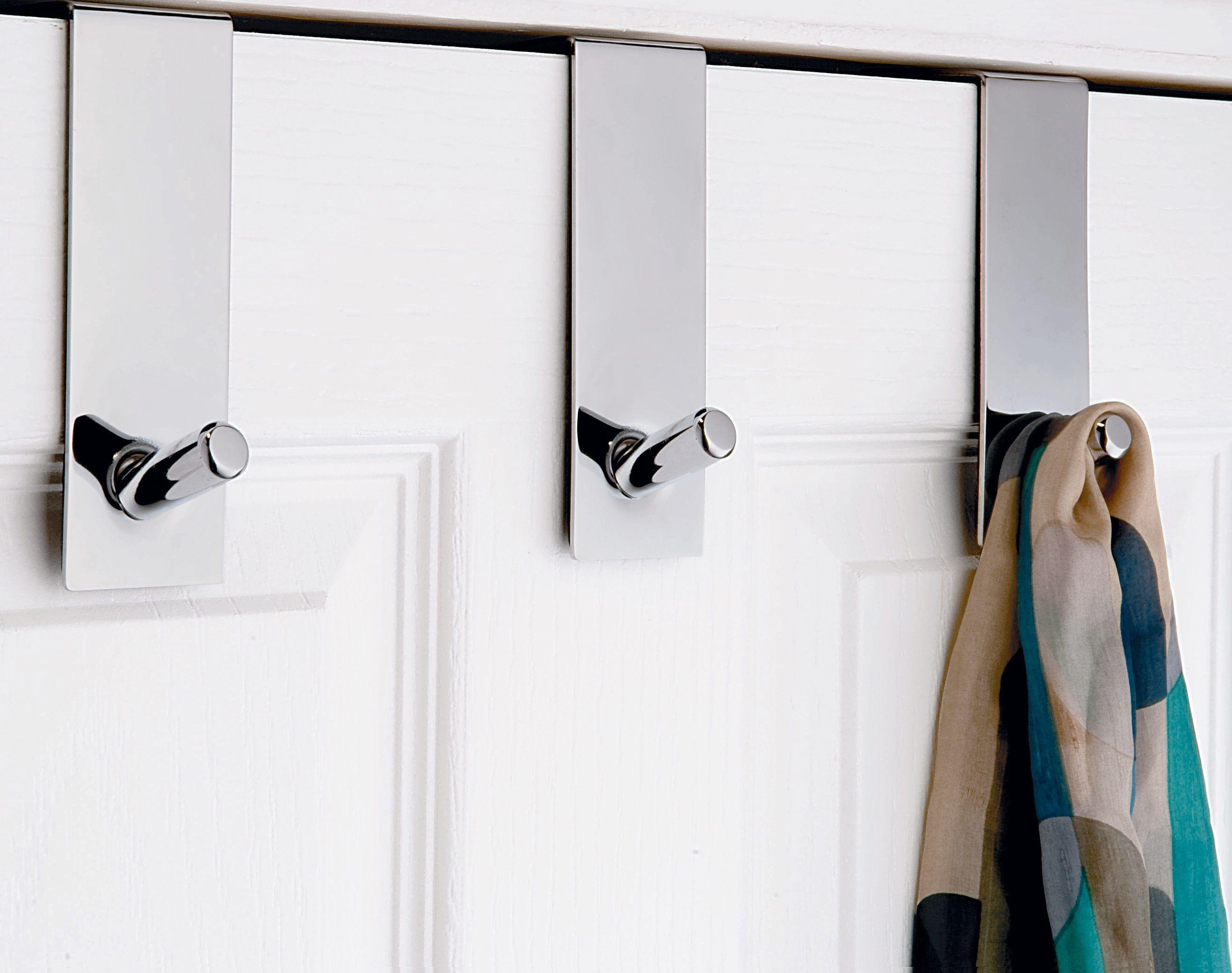 Argos Home Set of 3 Chunky Over Door Coat Hooks - Chrome
