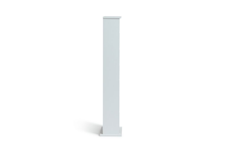 White wooden cd tower storage unit dvd cabinet narrow for Narrow storage tower