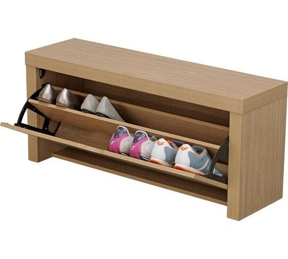 buy home cuban shoe storage cabinet oak effect hallway. Black Bedroom Furniture Sets. Home Design Ideas