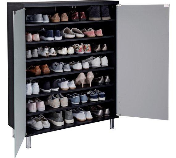 Buy Argos Home Milan Black Shoe Storage Cabinet Glass Door