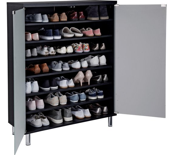 Buy Home Milan Frosted Glass Door Shoe Storage Cabinet Black